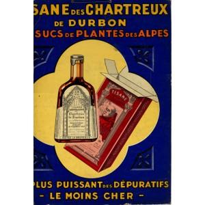 """Affiche """"TISANE DES CHARTREUX DE DURBON - Sucs de plantes des Alpes"""""""